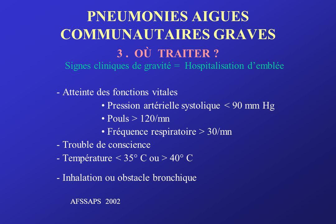 PNEUMONIES AIGUES COMMUNAUTAIRES GRAVES 3 . OÙ TRAITER
