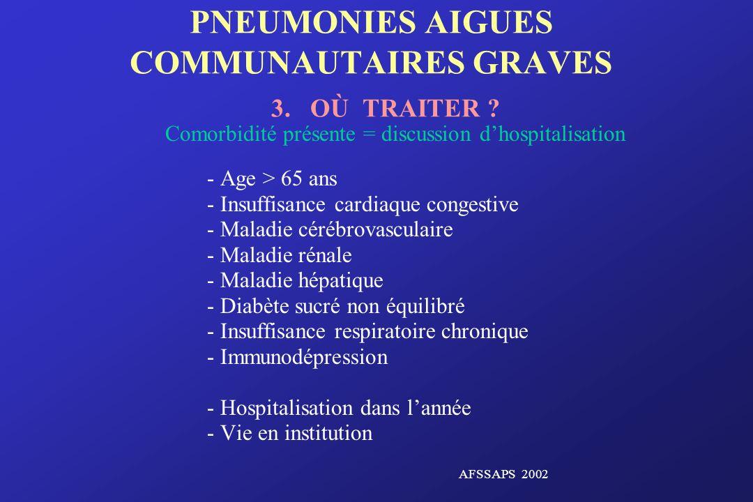 PNEUMONIES AIGUES COMMUNAUTAIRES GRAVES 3. OÙ TRAITER
