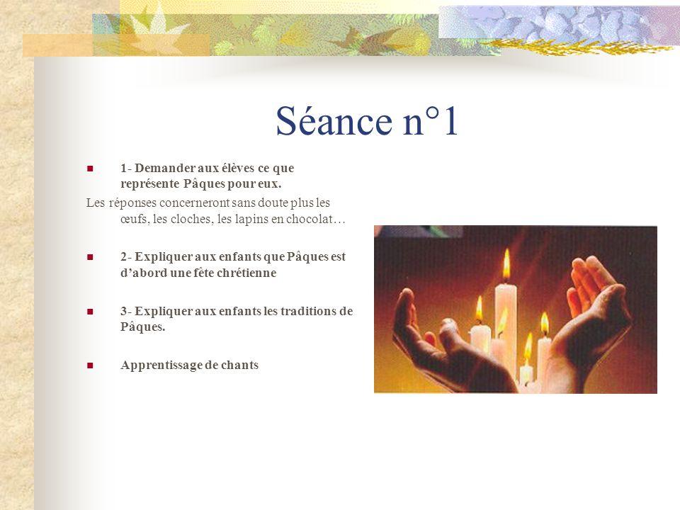 Séance n°1 1- Demander aux élèves ce que représente Pâques pour eux.