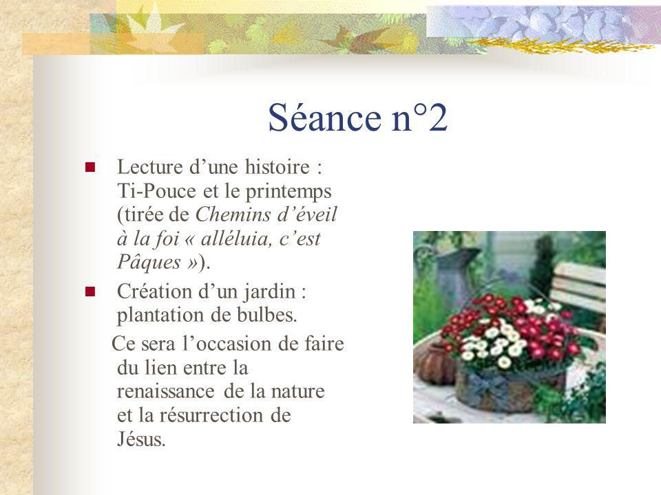Séance n°2 Lecture d'une histoire : Ti-Pouce et le printemps (tirée de Chemins d'éveil à la foi « alléluia, c'est Pâques »).
