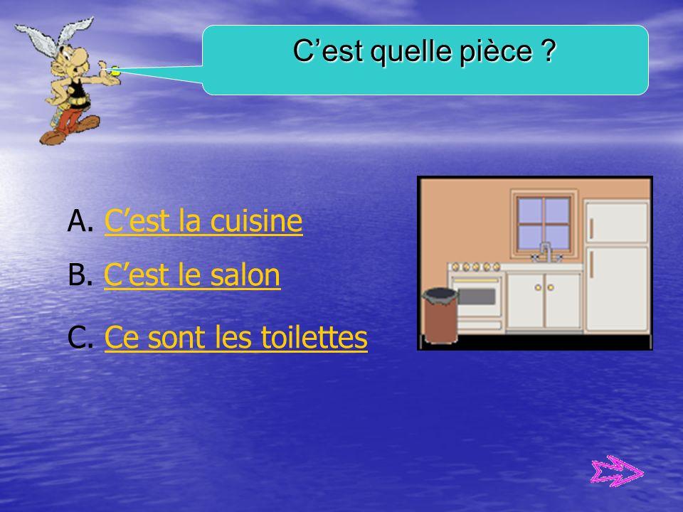 C'est quelle pièce A. C'est la cuisine B. C'est le salon C. Ce sont les toilettes