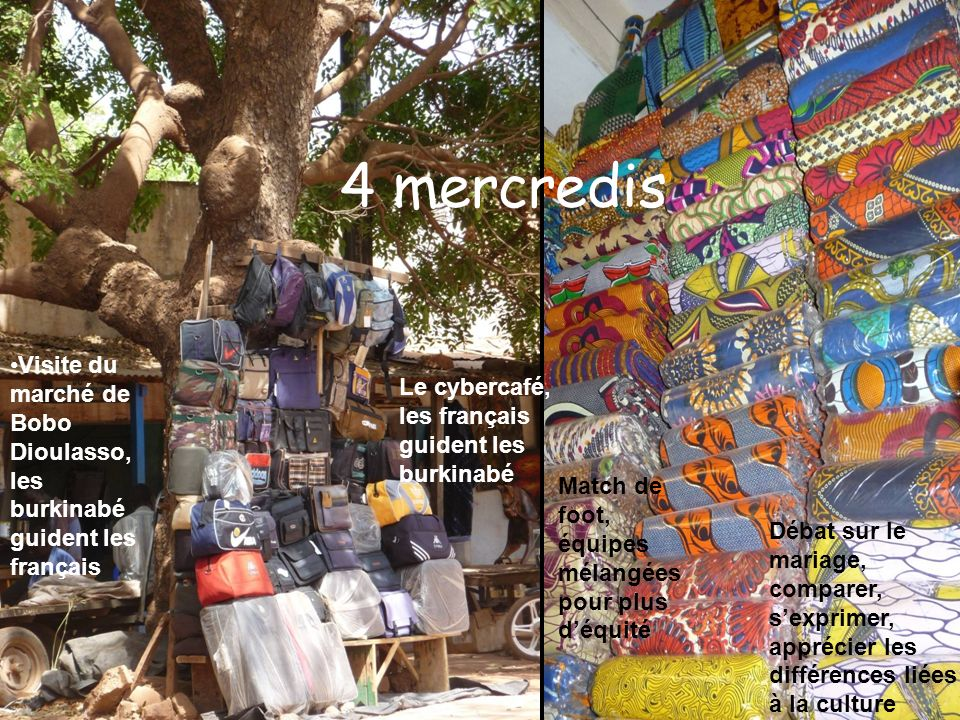4 mercredis Visite du marché de Bobo Dioulasso, les burkinabé guident les français. Le cybercafé, les français guident les burkinabé.