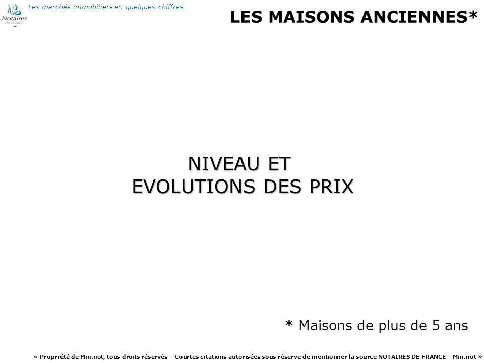 NIVEAU ET EVOLUTIONS DES PRIX LES MAISONS ANCIENNES*