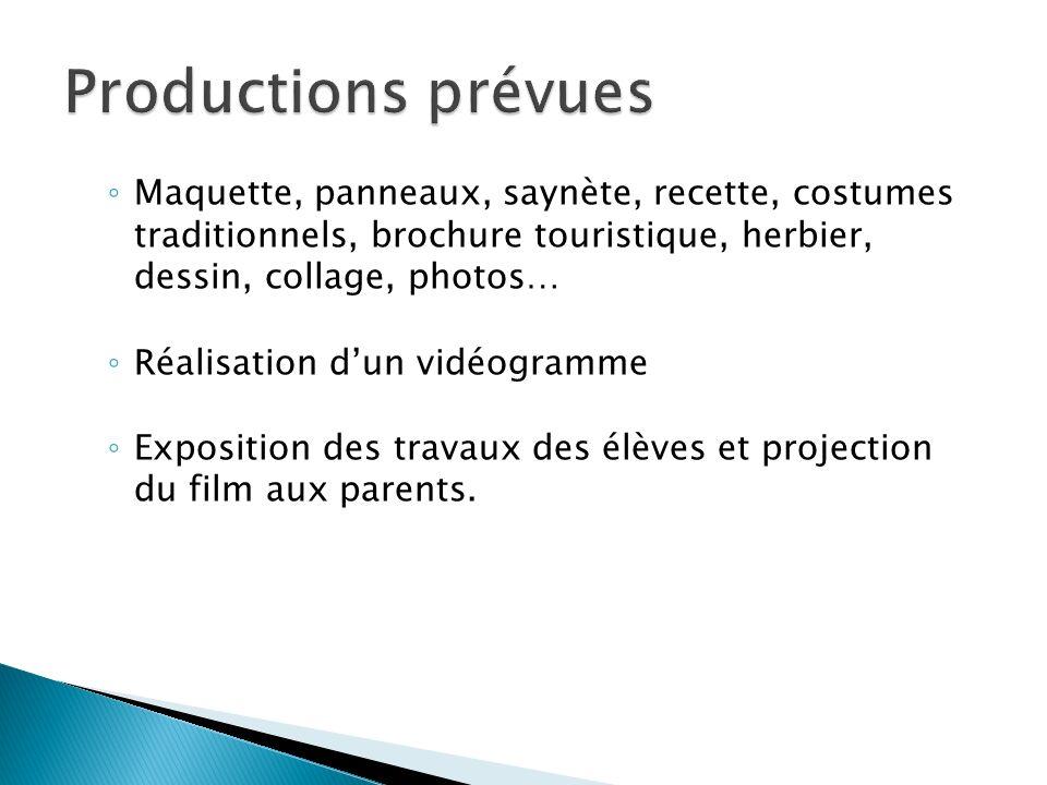 Productions prévues Maquette, panneaux, saynète, recette, costumes traditionnels, brochure touristique, herbier, dessin, collage, photos…