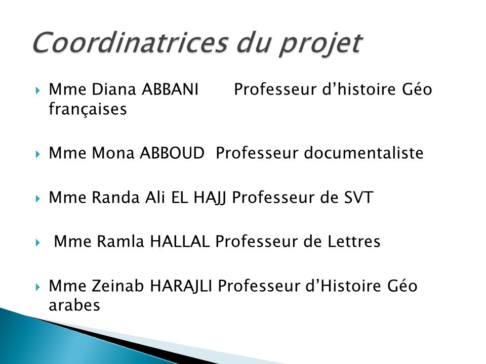 Coordinatrices du projet