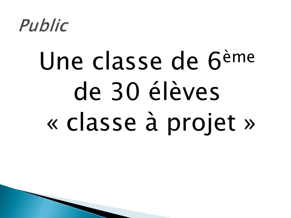 Une classe de 6ème de 30 élèves « classe à projet »
