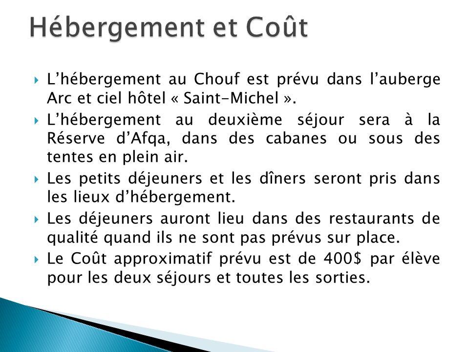 Hébergement et Coût L'hébergement au Chouf est prévu dans l'auberge Arc et ciel hôtel « Saint-Michel ».