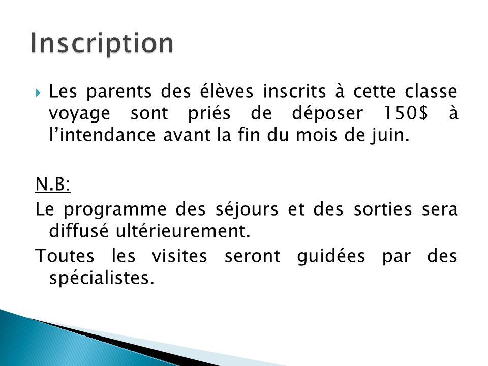 Inscription Les parents des élèves inscrits à cette classe voyage sont priés de déposer 150$ à l'intendance avant la fin du mois de juin.