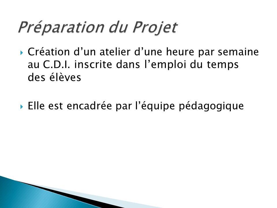 Préparation du Projet Création d'un atelier d'une heure par semaine au C.D.I. inscrite dans l'emploi du temps des élèves.