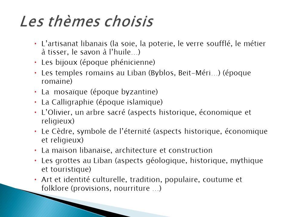 Les thèmes choisis L'artisanat libanais (la soie, la poterie, le verre soufflé, le métier à tisser, le savon à l'huile…)