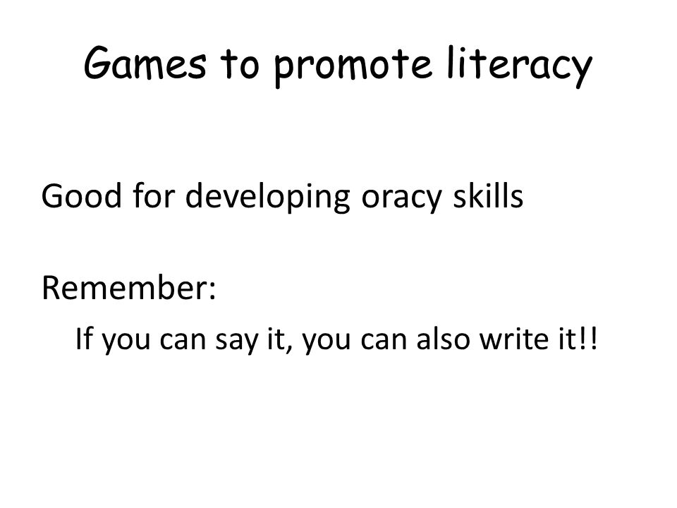 Games to promote literacy