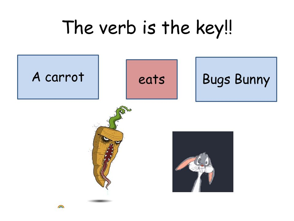 The verb is the key!! A carrot Bugs Bunny eats