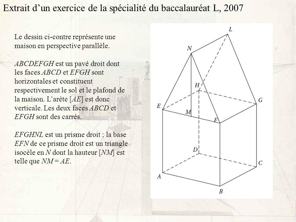 Extrait d'un exercice de la spécialité du baccalauréat L, 2007