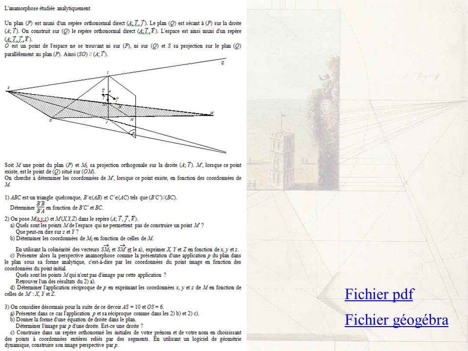 Fichier pdf Fichier géogébra