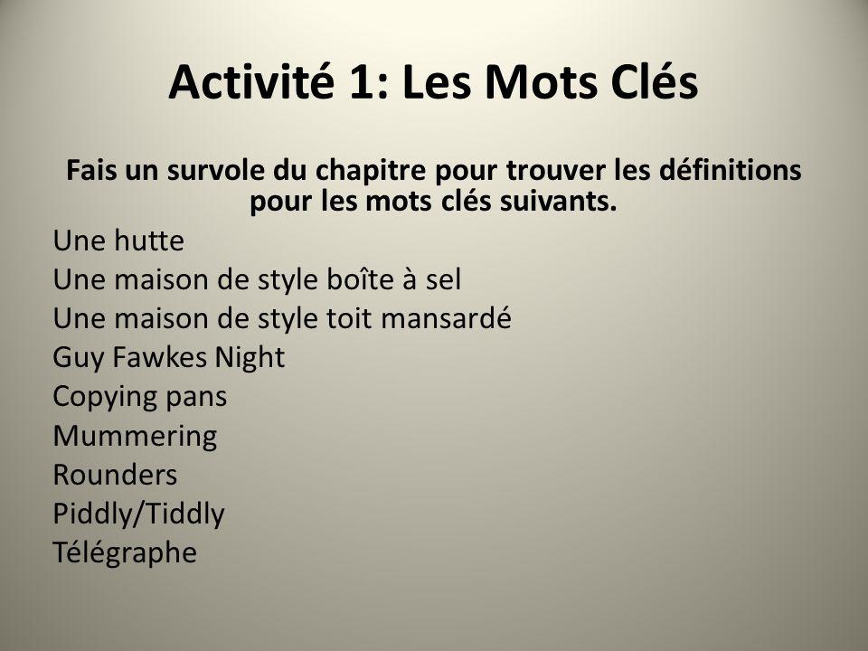 Activité 1: Les Mots Clés