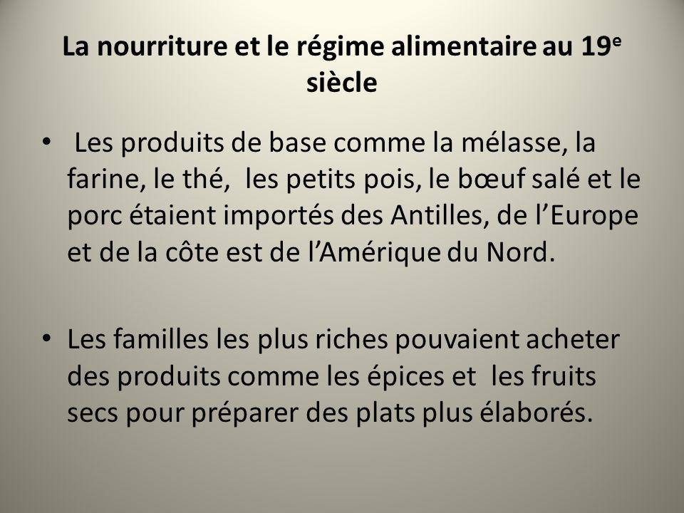 La nourriture et le régime alimentaire au 19e siècle