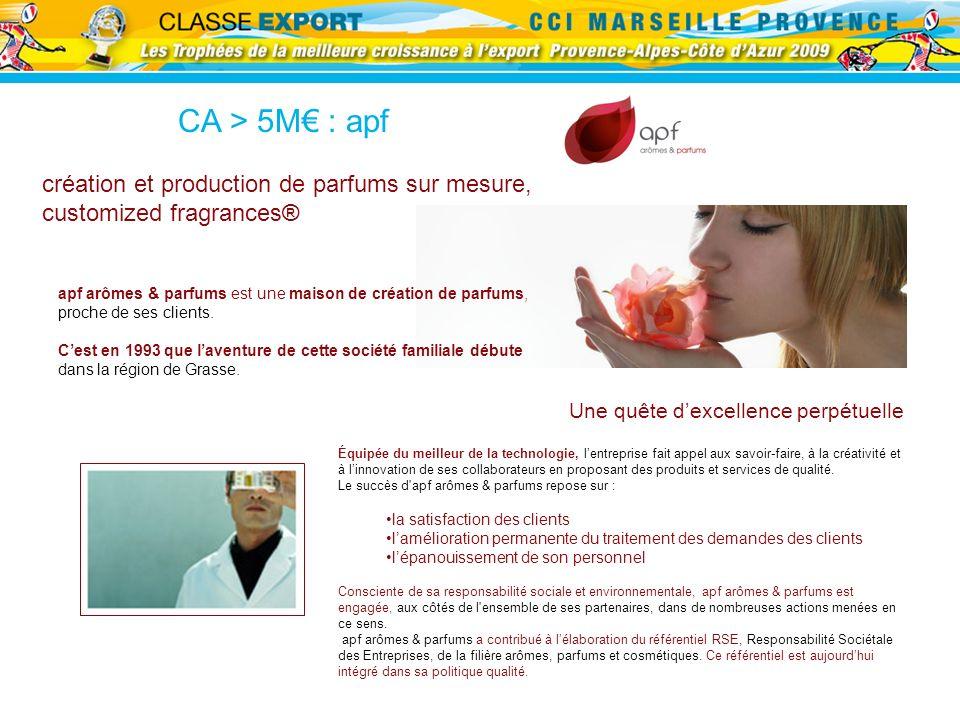 CA > 5M€ : apf création et production de parfums sur mesure,