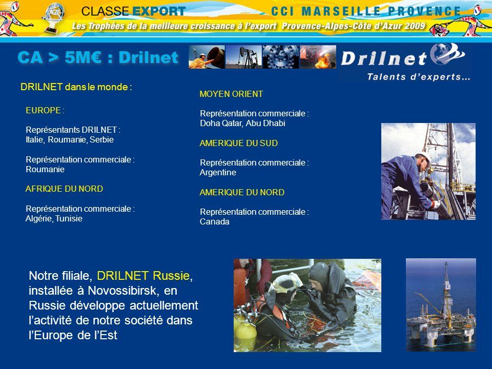 CA > 5M€ : Drilnet DRILNET dans le monde : MOYEN ORIENT. Représentation commerciale : Doha Qatar, Abu Dhabi.
