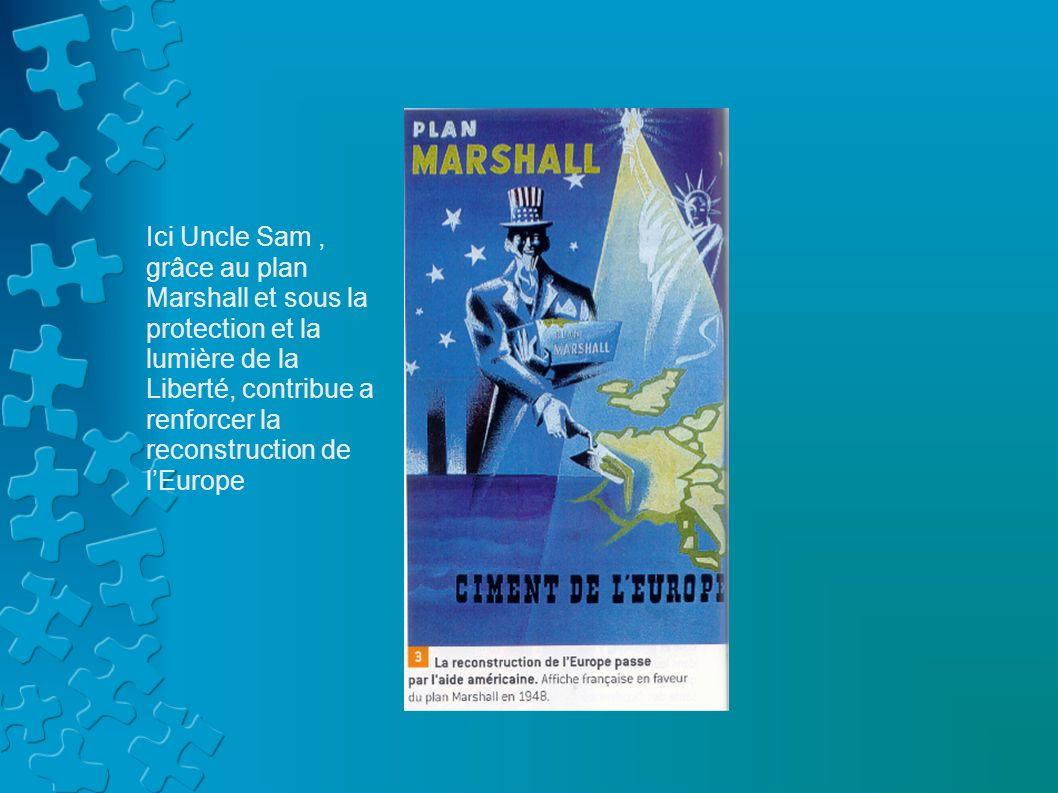 Ici Uncle Sam , grâce au plan Marshall et sous la protection et la lumière de la Liberté, contribue a renforcer la reconstruction de l'Europe