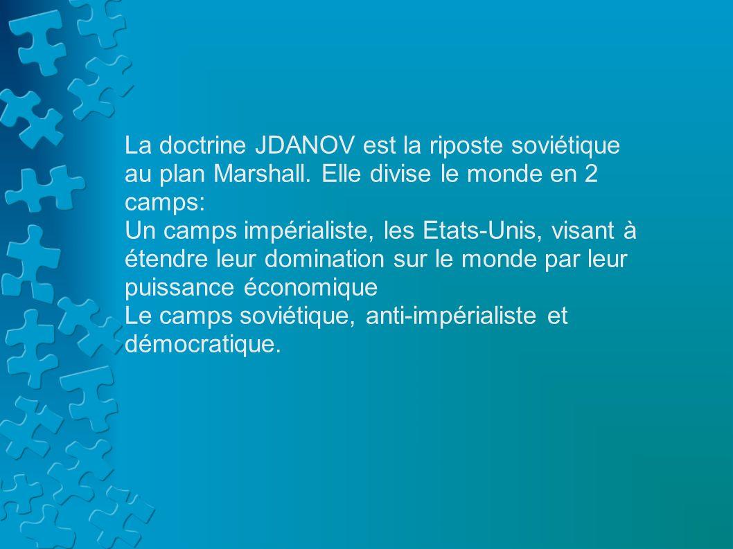 La doctrine JDANOV est la riposte soviétique au plan Marshall