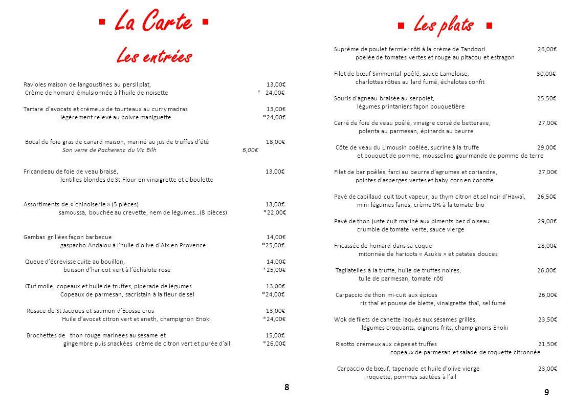 La Carte Les plats Les entrées 8