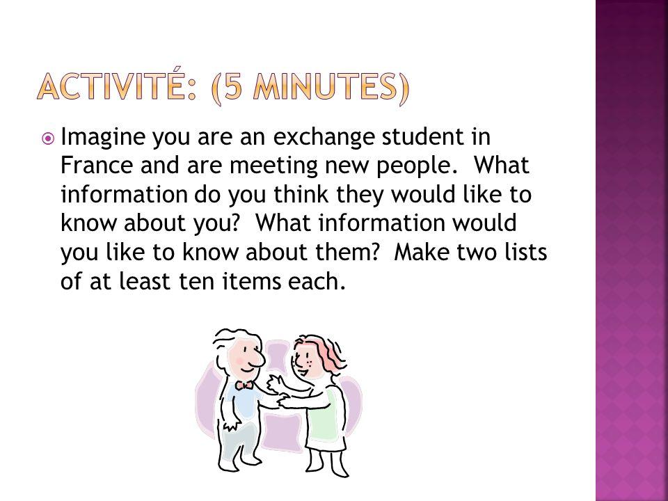 Activité: (5 minutes)