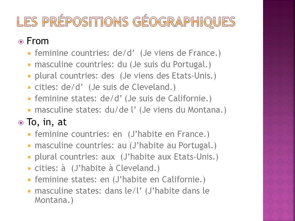 Les prépositions géographiques