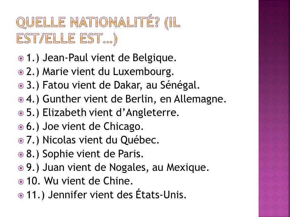 Quelle nationalité (il est/elle est…)