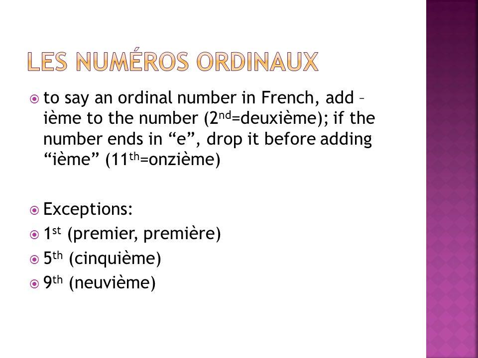 Les numéros ordinaux