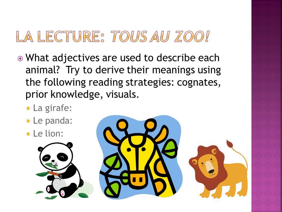 La Lecture: Tous au zoo!