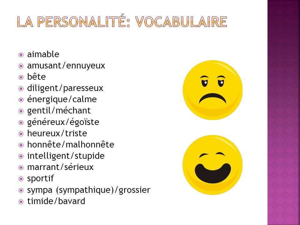 La Personalité: Vocabulaire