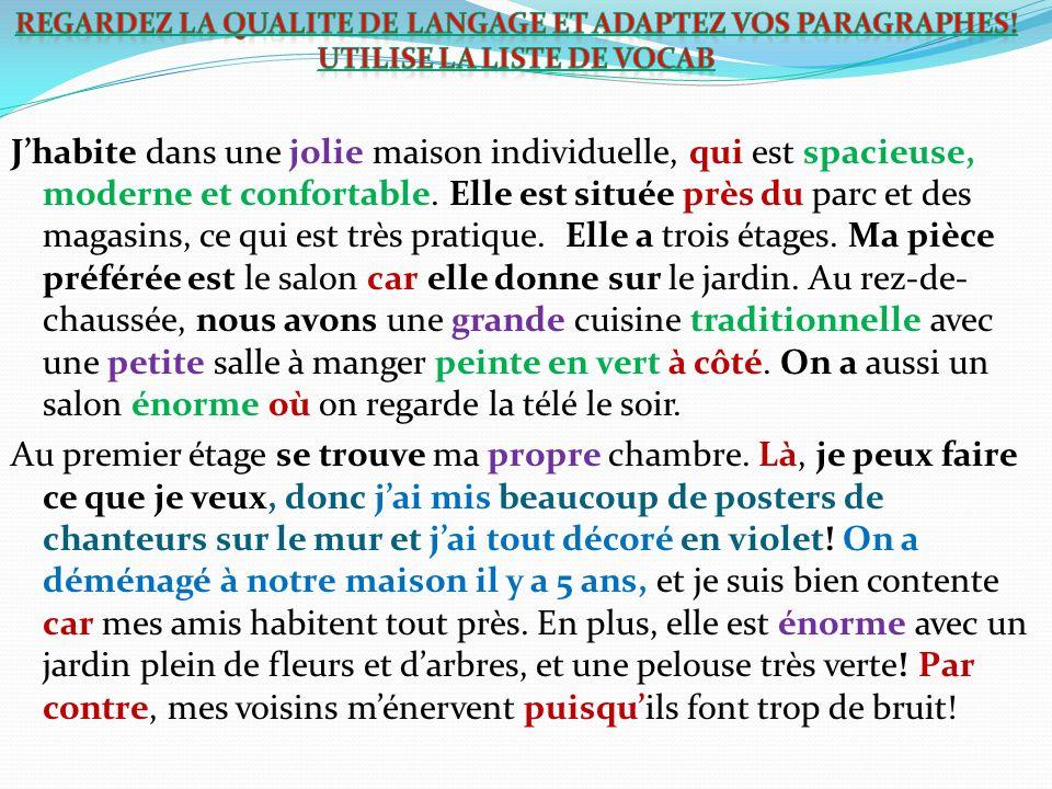 Regardez la qualite de langage et adaptez vos paragraphes!