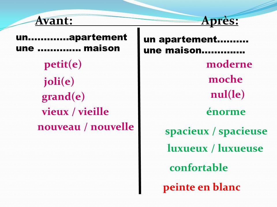 Avant: Après: petit(e) moderne moche joli(e) nul(le) grand(e)