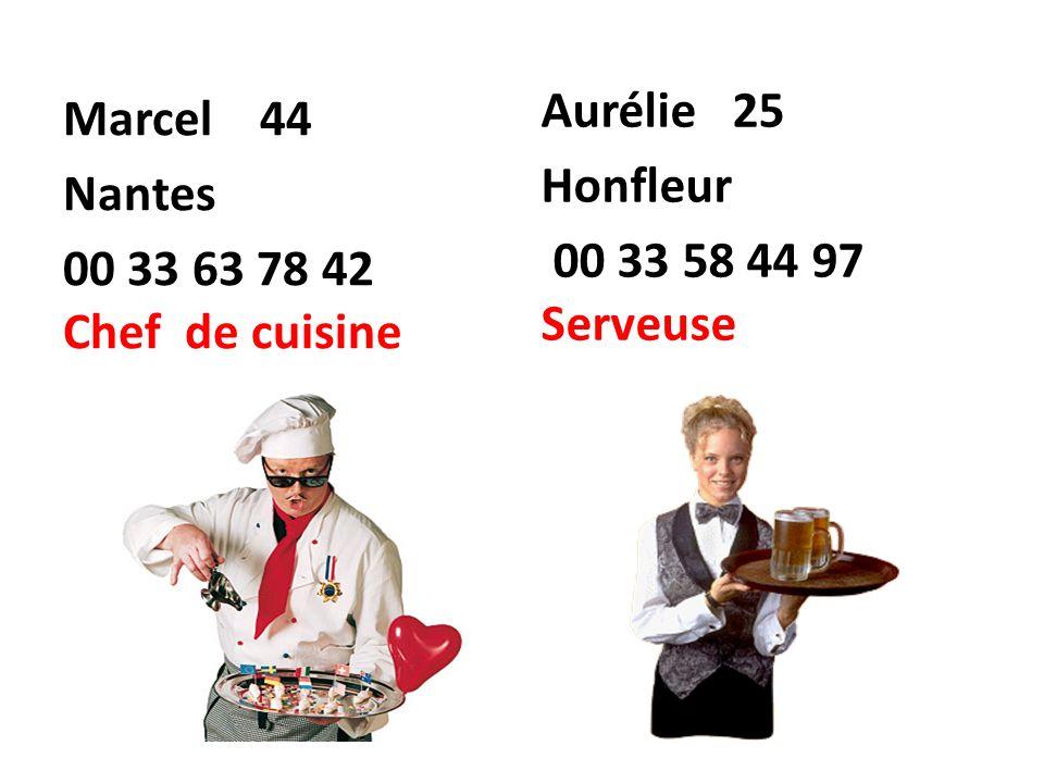 Marcel 44 Nantes 00 33 63 78 42 Chef de cuisine Aurélie 25 Honfleur 00 33 58 44 97 Serveuse