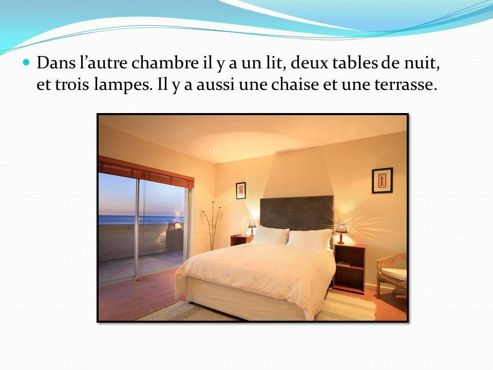 Dans l'autre chambre il y a un lit, deux tables de nuit, et trois lampes.