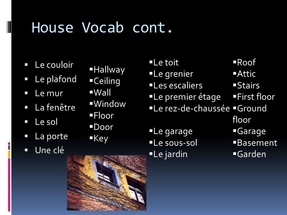 House Vocab cont. Le toit Le grenier Les escaliers Le premier étage