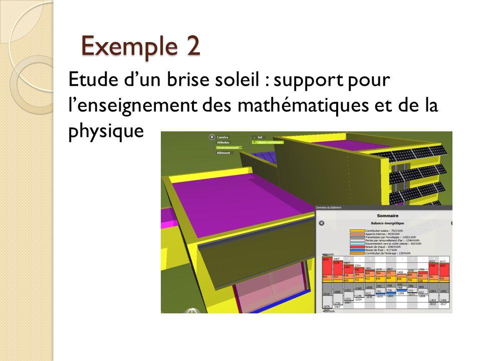 Exemple 2 Etude d'un brise soleil : support pour l'enseignement des mathématiques et de la physique.