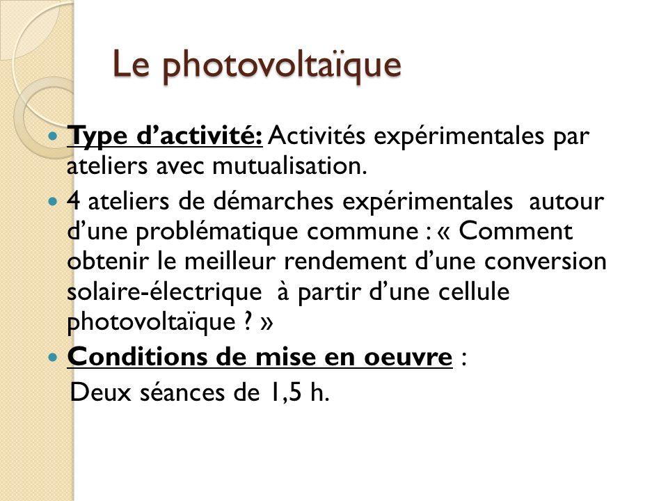 Le photovoltaïque Type d'activité: Activités expérimentales par ateliers avec mutualisation.