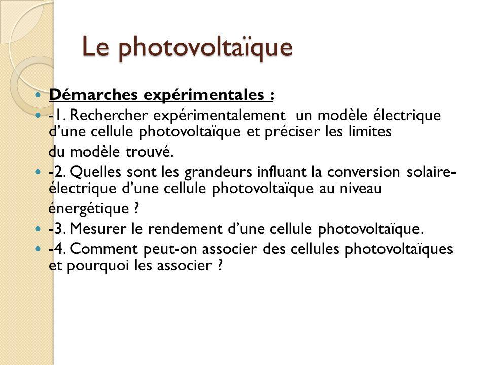 Le photovoltaïque Démarches expérimentales :