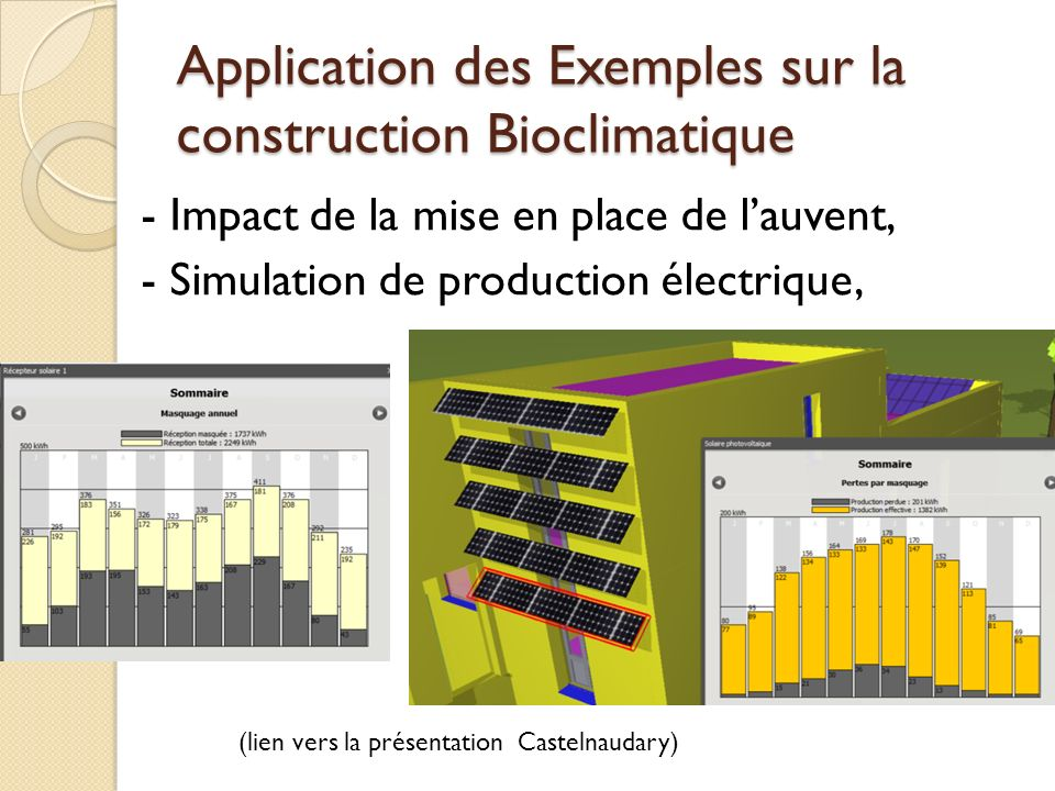 Application des Exemples sur la construction Bioclimatique