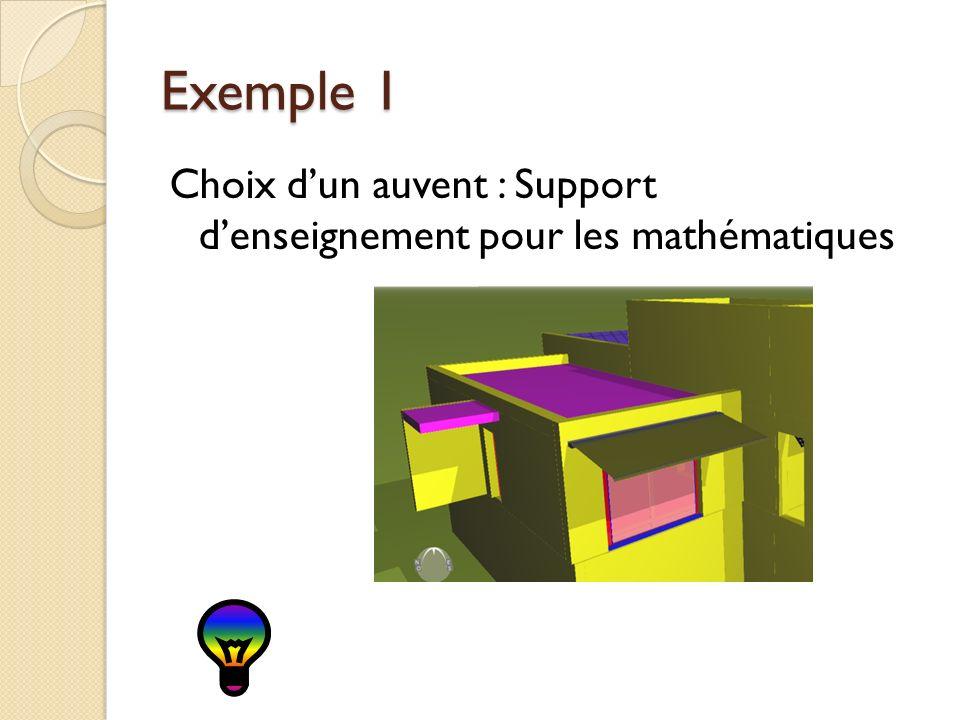 Exemple 1 Choix d'un auvent : Support d'enseignement pour les mathématiques