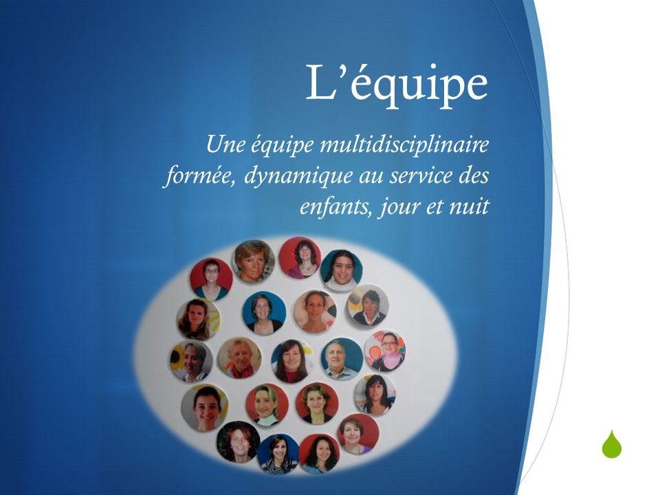 L'équipe Une équipe multidisciplinaire formée, dynamique au service des enfants, jour et nuit