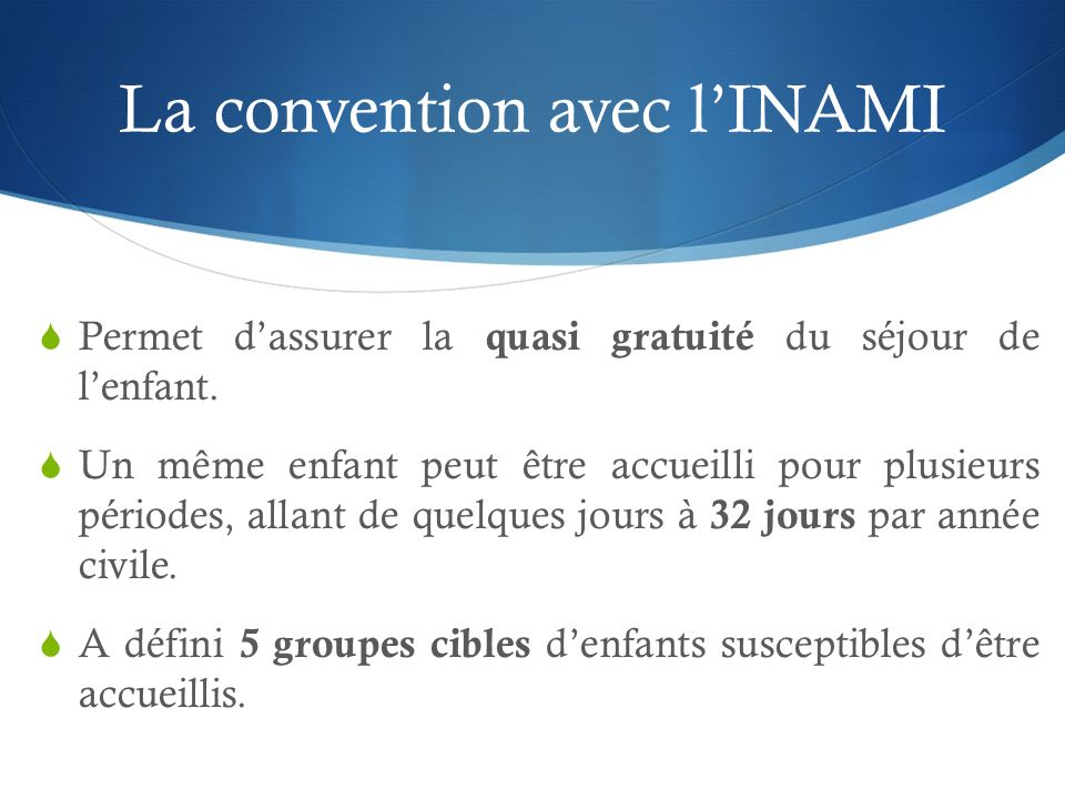 La convention avec l'INAMI