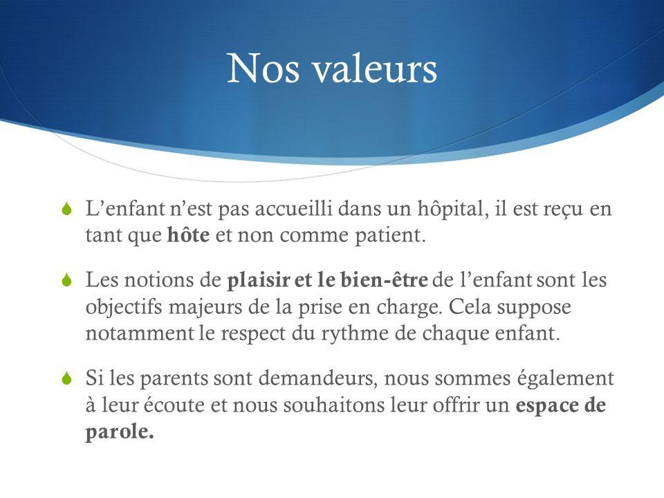Nos valeurs L'enfant n'est pas accueilli dans un hôpital, il est reçu en tant que hôte et non comme patient.