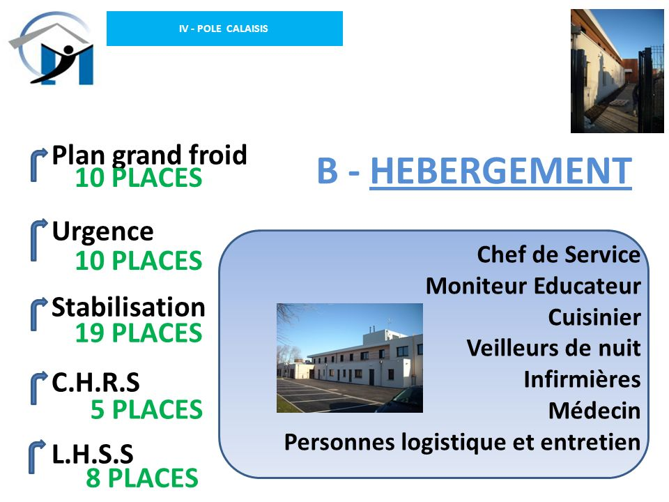 B - HEBERGEMENT Plan grand froid 10 PLACES Urgence Stabilisation
