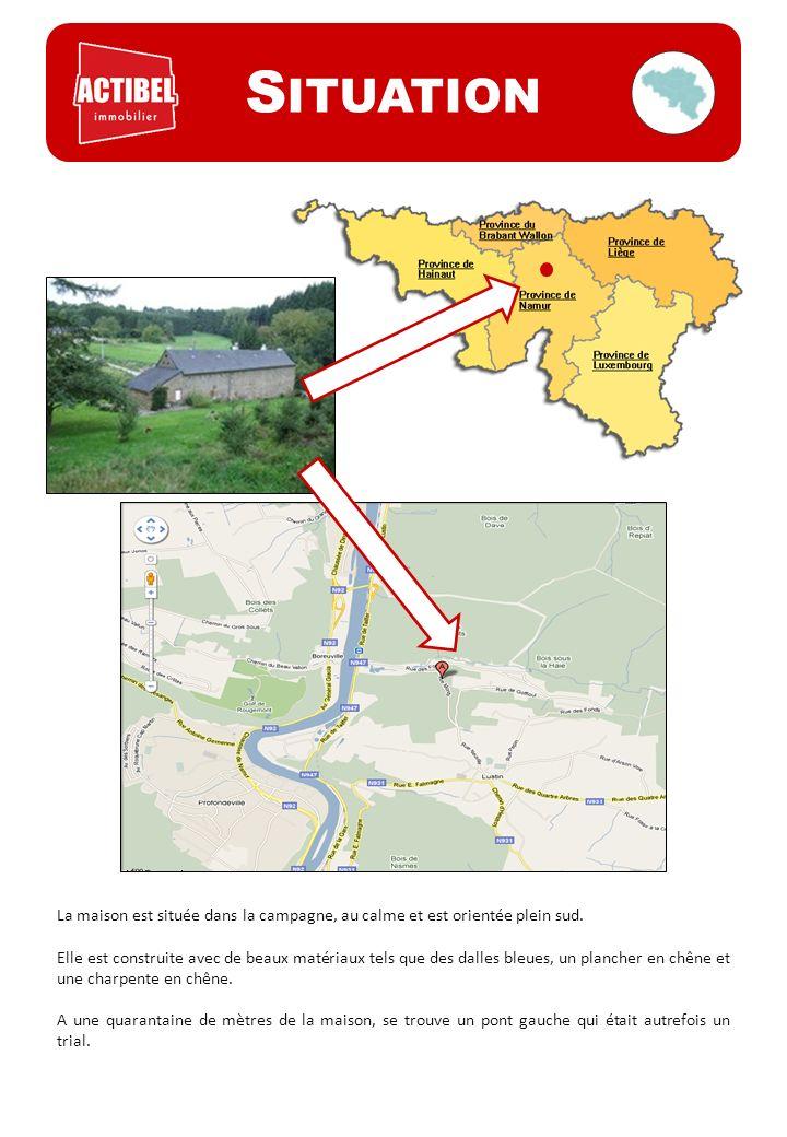 Situation La maison est située dans la campagne, au calme et est orientée plein sud.