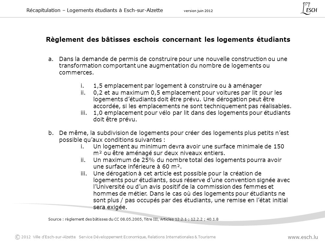 Règlement des bâtisses eschois concernant les logements étudiants