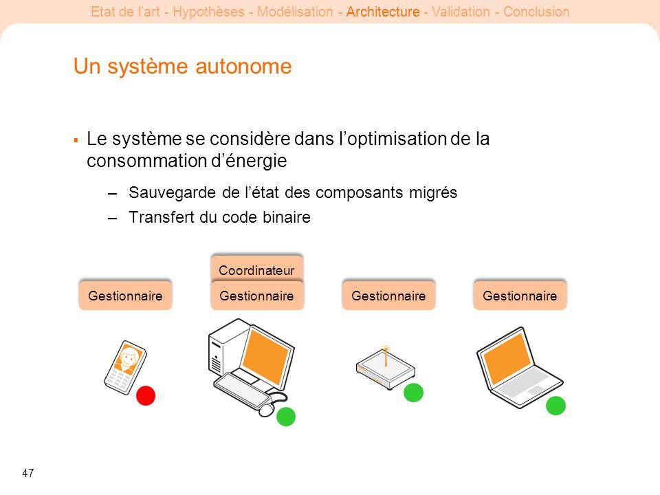 Un système autonome Le système se considère dans l'optimisation de la consommation d'énergie. Sauvegarde de l'état des composants migrés.