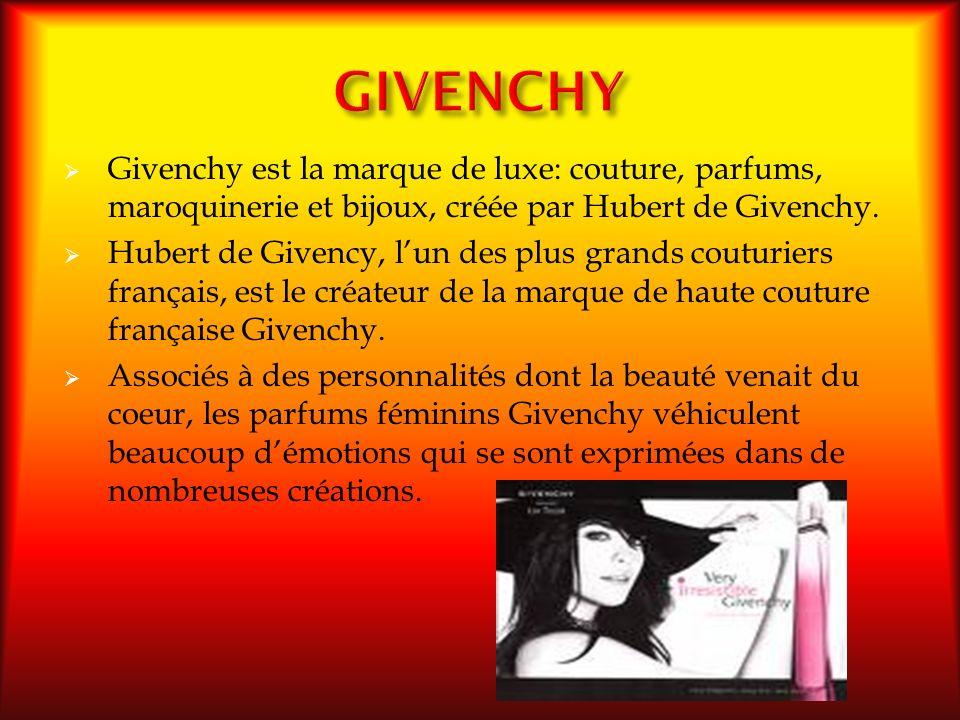 GIVENCHY Givenchy est la marque de luxe: couture, parfums, maroquinerie et bijoux, créée par Hubert de Givenchy.