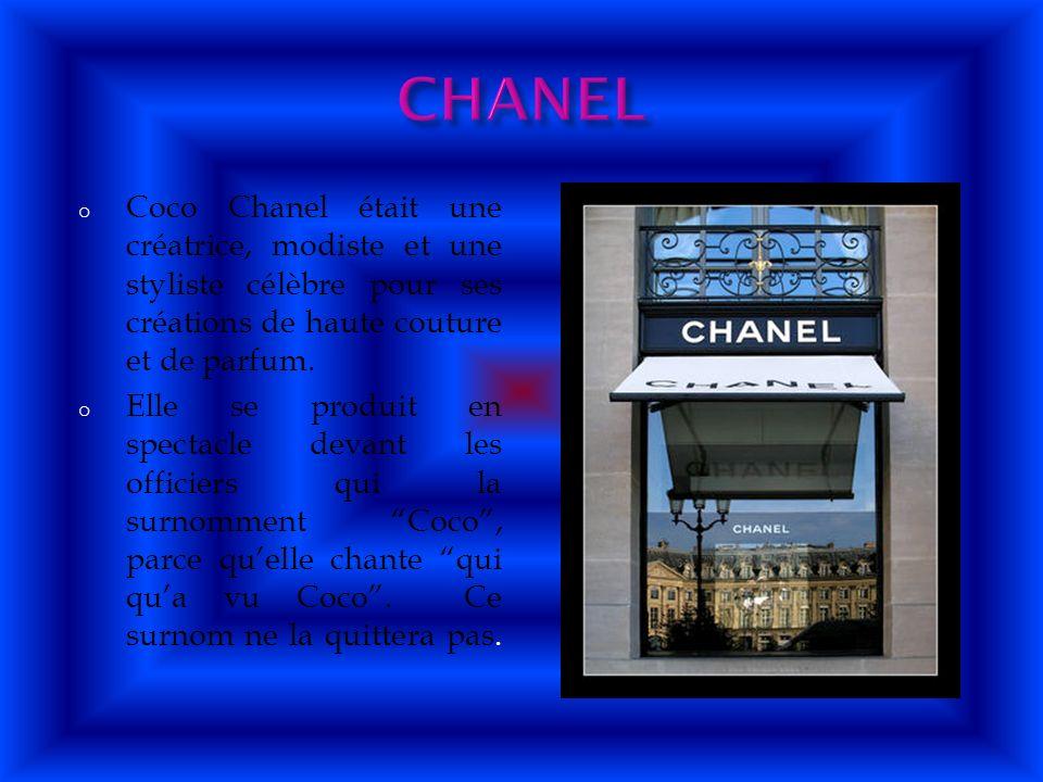CHANEL Coco Chanel était une créatrice, modiste et une styliste célèbre pour ses créations de haute couture et de parfum.